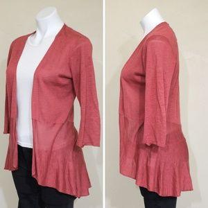 Eileen Fisher Silk Linen Open Front Knit Cardigan